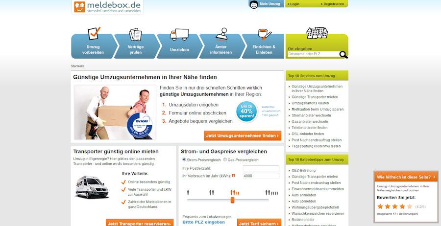 Meldebox-Screen